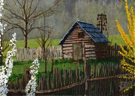 Corn Cribs For Sale by Cades Cove Corn Crib Two Painting By Bill Brown
