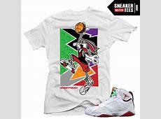 "Jordan 7 Hare shirts to match ""Fresh Hare"" White Sneaker ... Jordan 12 French Blue Shirt"