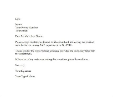 resignation letter templates 16 free sle exle format free premium templates
