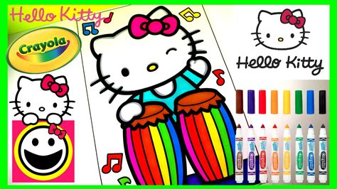 crayola hello kitty mini coloring pages hello kitty playing the conga drums crayola coloring