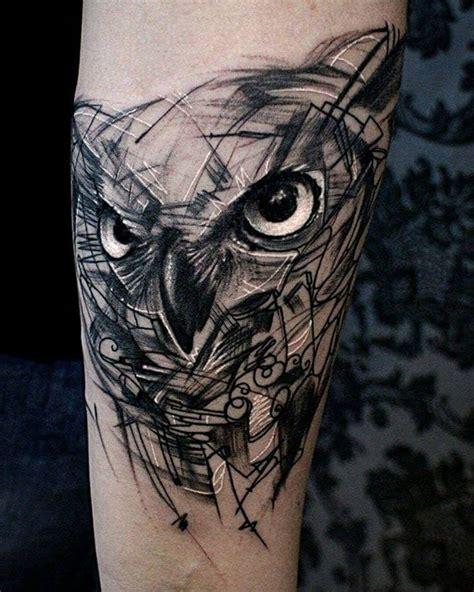 owl skizze tattoo trash lines realistic style by krzysztof