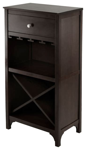 Modular Bar Cabinet Ancona Modular Wine Cabinet With One Drawer Transitional Wine And Bar Cabinets By Winsome
