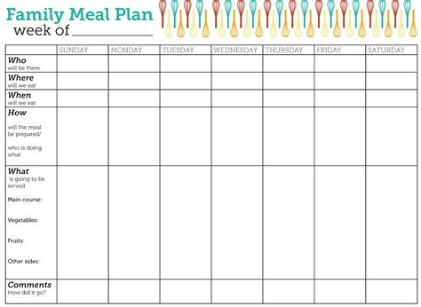 family dinner menu template design lass family meal plan printable family meal free