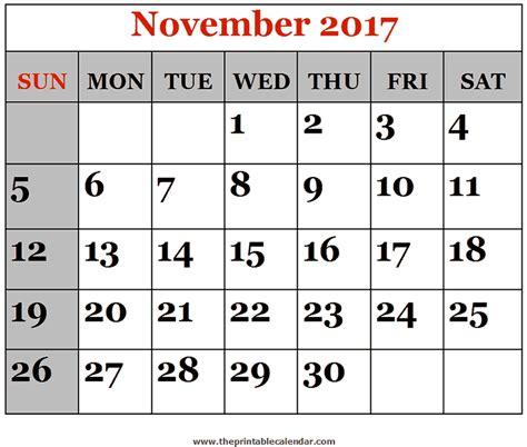 Calendar November 2017 Printable November 2017 Printable Calendars