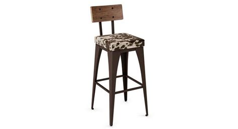 Faux Cowhide Bar Stools by Amisco Upright Industrial Looking Barstool With Faux
