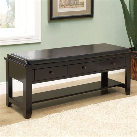 chelsea 3 drawer storage bench in cappuccino entryway