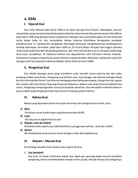 format esai bahasa indonesia kritik dan esai sastra