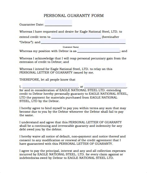 Credit Guarantee Form Sle Personal Guarantee Form 9 Free Documents In Pdf