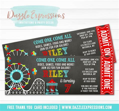 ticket to ride card template printable amusement park chalkboard ticket birthday