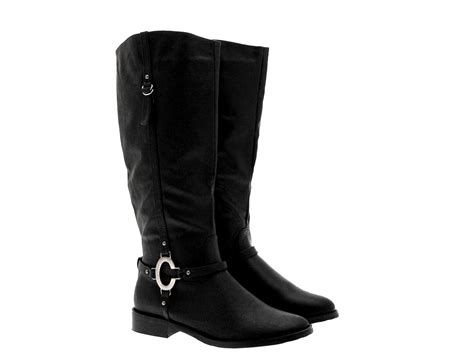 womens two tone stirup ring biker boots knee high