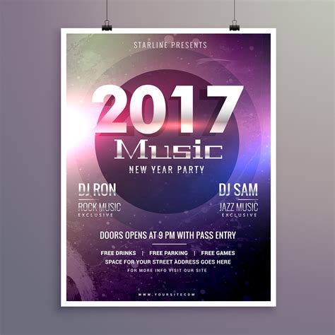 2017 Music Party Flyer Template With Colorful Lights On A Textur Download Free Vector Art Lights Flyer Template