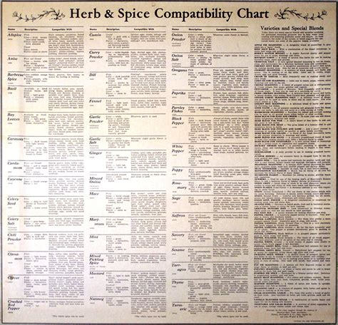 spice herb kitchen chart by amalgamarts on etsy spice compatibility chart cooking