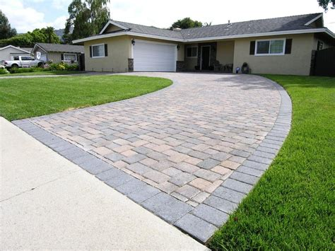 cream brown charcoal i pattern circular driveway with solid charcoal soldier border yelp
