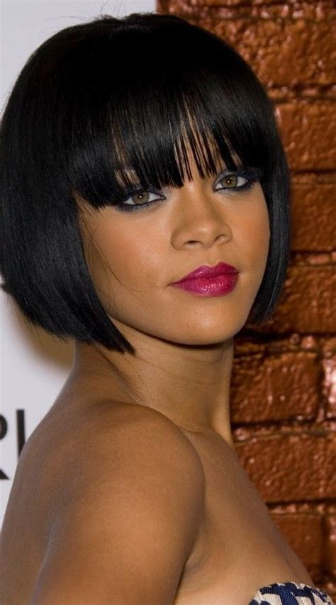 show photos of shingle ladies haircuts blunt bob with bangs get the look with mayvenn peruvian