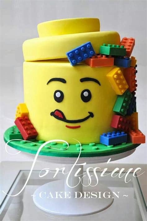 happy birthday lego design lego man head cake with solid chocolate lego blocks by