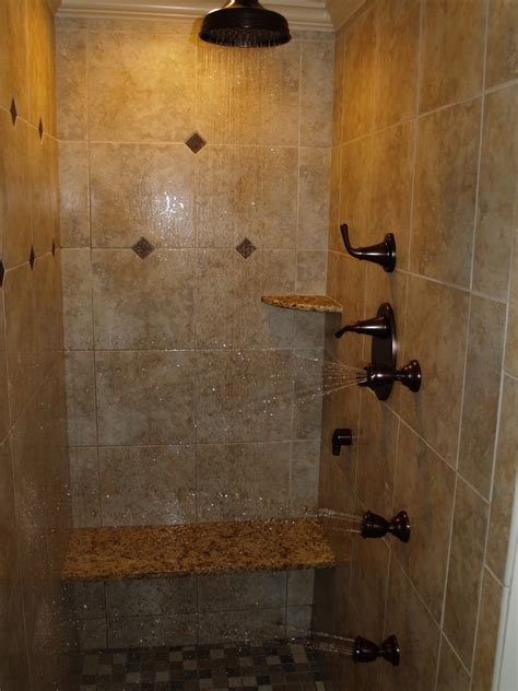 multi jet shower bathroom midcentury with bamboo cabinet