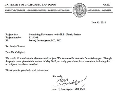 Letter For Research Approval Submitting A Social And Behavioral Research Study Withdrawal Or Closure