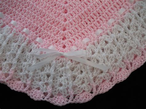 Handmade Crocheted Baby Blankets - new handmade crochet baby blanket afghan pink and white