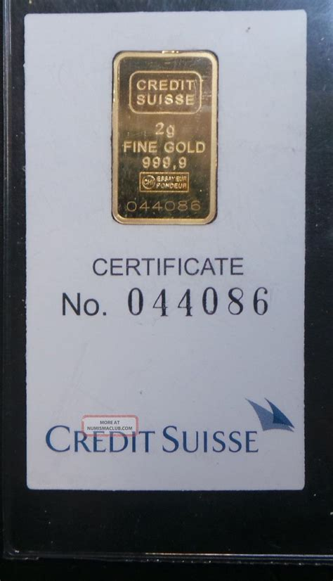 Credit Suisse 2 credit suisse 2 gram 9999 gold bullion bar