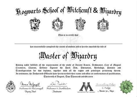 hogwarts certificate template hogwarts certificate template id and diploma templates