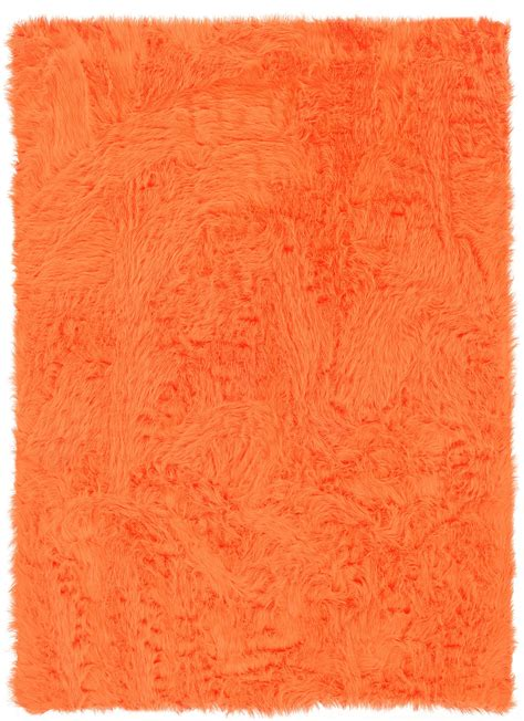 Orange Modern Rugs Faux Sheepskin Orange Rug From The Shag Rugs Collection At Modern Area Rugs