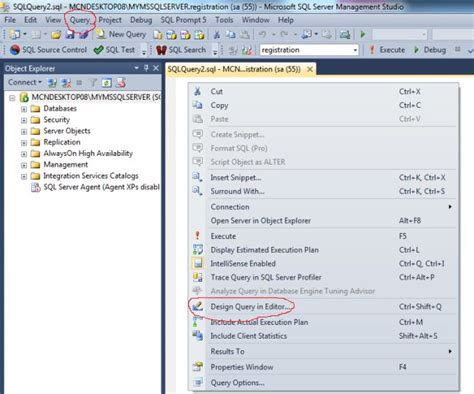 design query in editor sql 2008 developing and designing queries using query designer in