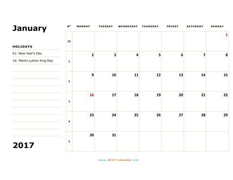 printable calendar 2017 monday to friday printable 2017 calendar