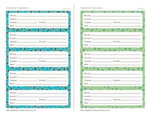 7 best images of printable password organizer template