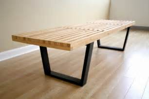 modern furniture bench george nelson classic modern ash wood slat bench coffee table 5 ft 60 quot ebay