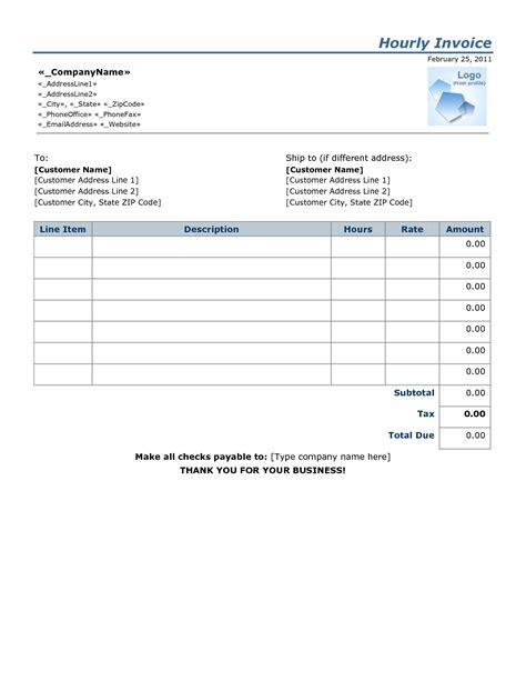 Hourly Rate Invoice Template Invoice Template Ideas Hourly Invoice Template