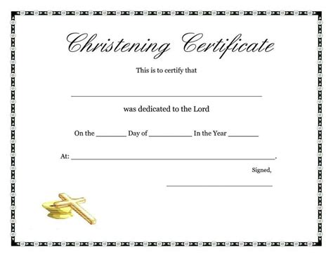 baby christening certificate template free baptism certificate template template update234