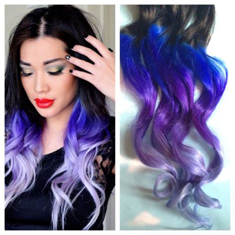 weave hairstyles with purple tips purple and blue hair clip extensions blue ombre hair purple