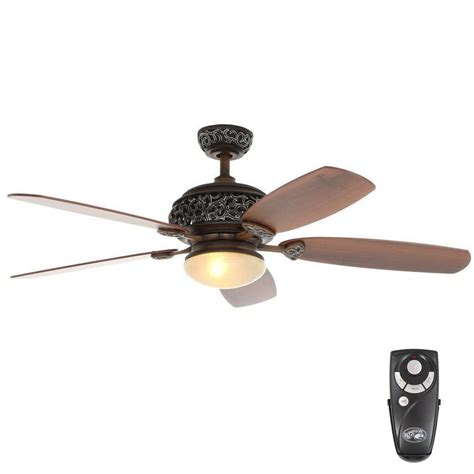 52 ceiling fan with light and remote control hton bay 52 in indoor caffe patina ceiling fan with