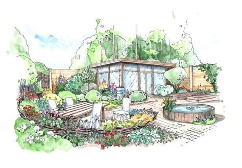 Landscape Design Perspective Rendering Helen Thomas Landscape Drawing Ideas