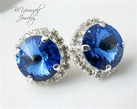 blue earrings sparkly stud earrings swarovski