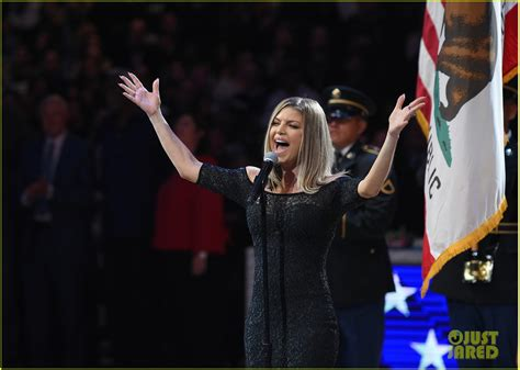 Preforms At The Nba All by Fergie Performs The National Anthem At The Nba All