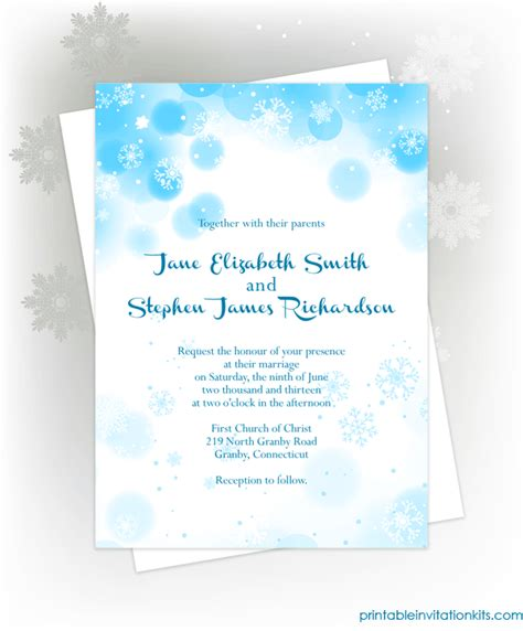 Snowflakes Winter Invitation For Winter Weddings And Events Wedding Invitation Templates Winter Wedding Invitation Templates Free