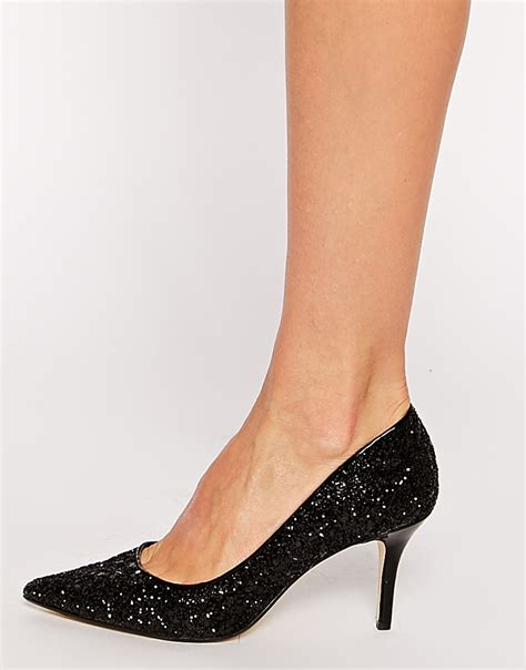Gliter Heels lyst dune alina black glitter kitten heel pumps in black