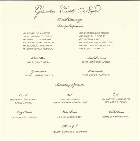 wedding entourage list template wedding invitation sle format with entourage matik for