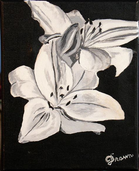 black brown and white black and white flower painting by burma brown