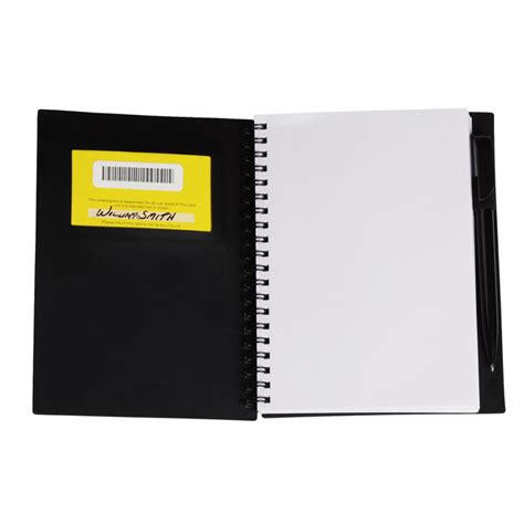 business card notebook with pen opaque item no c111636