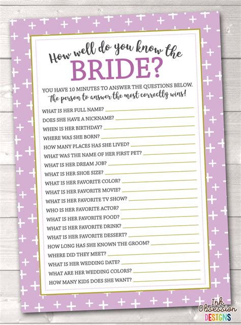 how well do you the bridal shower printable purple crosses how well do you the printable bridal shower erin bradley ink