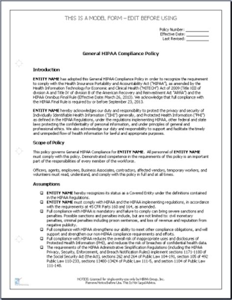 Hipaa Compliance Policies And Procedures Healthcare Privacy Policy Template