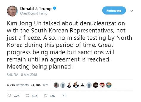 donald trump north korea tweet rare restrained tweet from trump heralds meeting with kim