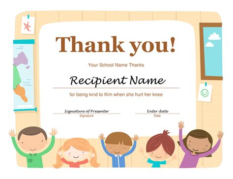 microsoft office thank you card template thank you certificate