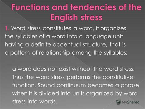 accentual pattern of words презентация на тему quot word stress ws can be defined as