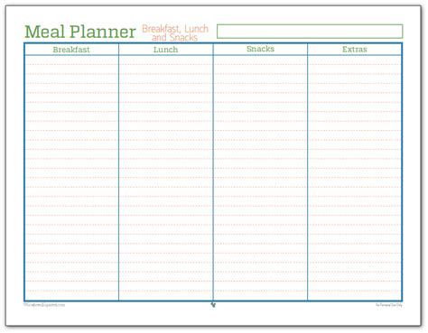 printable meal planner with snacks meal planner breakfast lunch and snacks scattered squirrel
