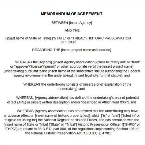 template of memorandum of agreement 25 professional agreement format exles between two