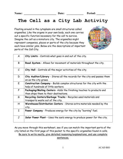 Looking Inside Cells Worksheet by Looking Inside Cells Worksheet Answers Cell City Deployday