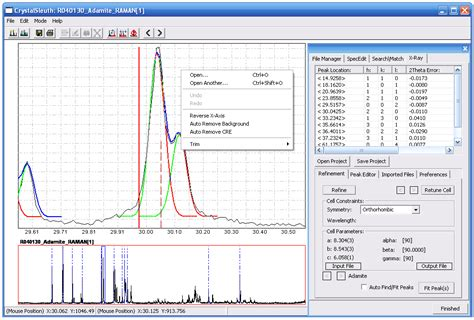 xrd pattern data database of raman spectroscopy x ray diffraction and